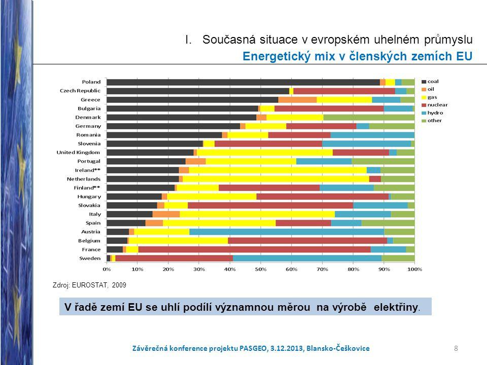 I. Současná situace v evropském uhelném průmyslu Energetický mix v členských zemích EU Zdroj: EUROSTAT, 2009 8 V řadě zemí EU se uhlí podílí významnou