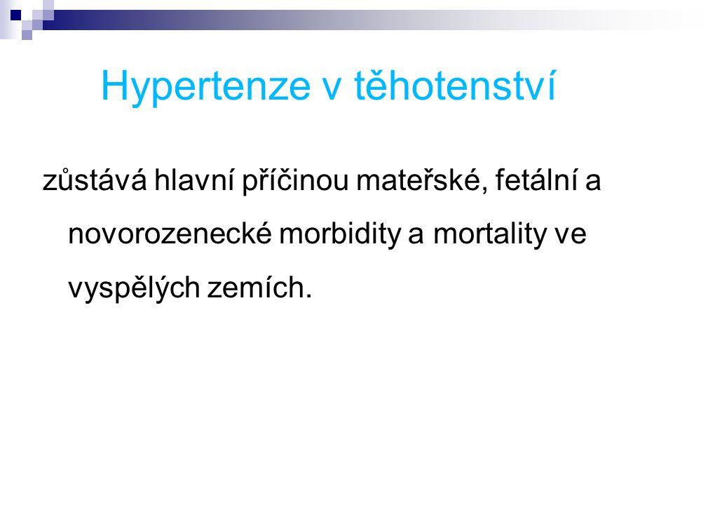 Hypertenze v těhotenství zůstává hlavní příčinou mateřské, fetální a novorozenecké morbidity a mortality ve vyspělých zemích.