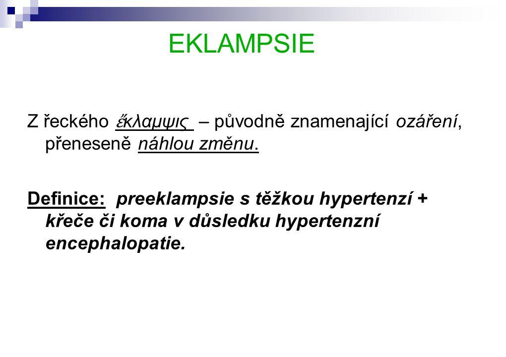 EKLAMPSIE Z řeckého ἔ κλαμψις – původně znamenající ozáření, přeneseně náhlou změnu.
