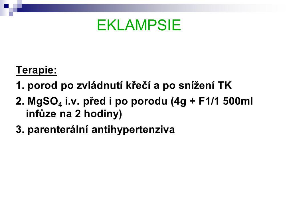 EKLAMPSIE Terapie: 1.porod po zvládnutí křečí a po snížení TK 2.