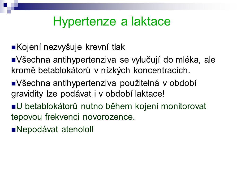 Hypertenze a laktace  Kojení nezvyšuje krevní tlak  Všechna antihypertenziva se vylučují do mléka, ale kromě betablokátorů v nízkých koncentracích.