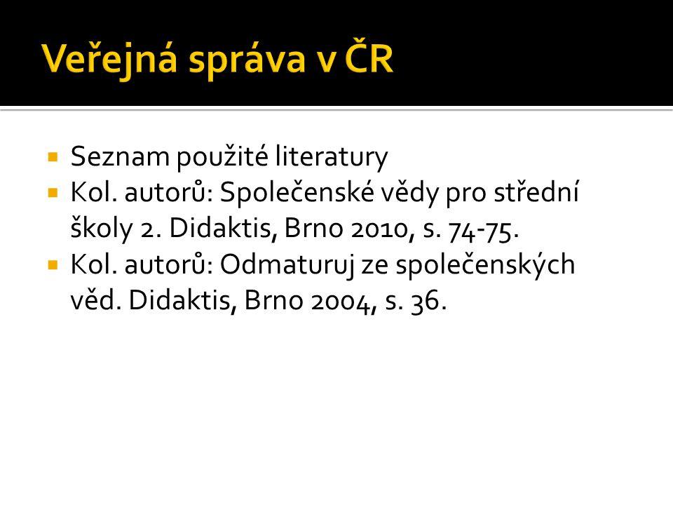  Seznam použité literatury  Kol. autorů: Společenské vědy pro střední školy 2.