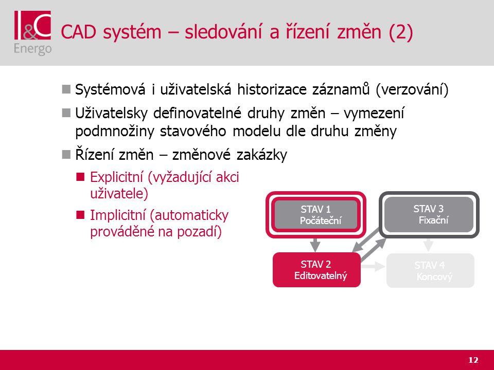 12 CAD systém – sledování a řízení změn (2)  Systémová i uživatelská historizace záznamů (verzování)  Uživatelsky definovatelné druhy změn – vymezen