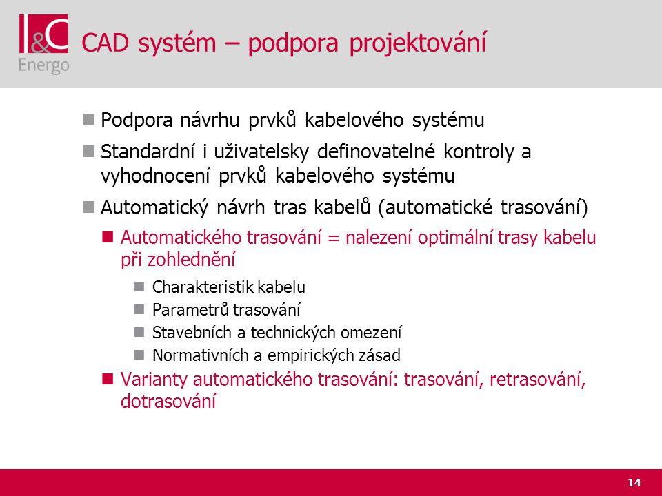 14 CAD systém – podpora projektování  Podpora návrhu prvků kabelového systému  Standardní i uživatelsky definovatelné kontroly a vyhodnocení prvků k