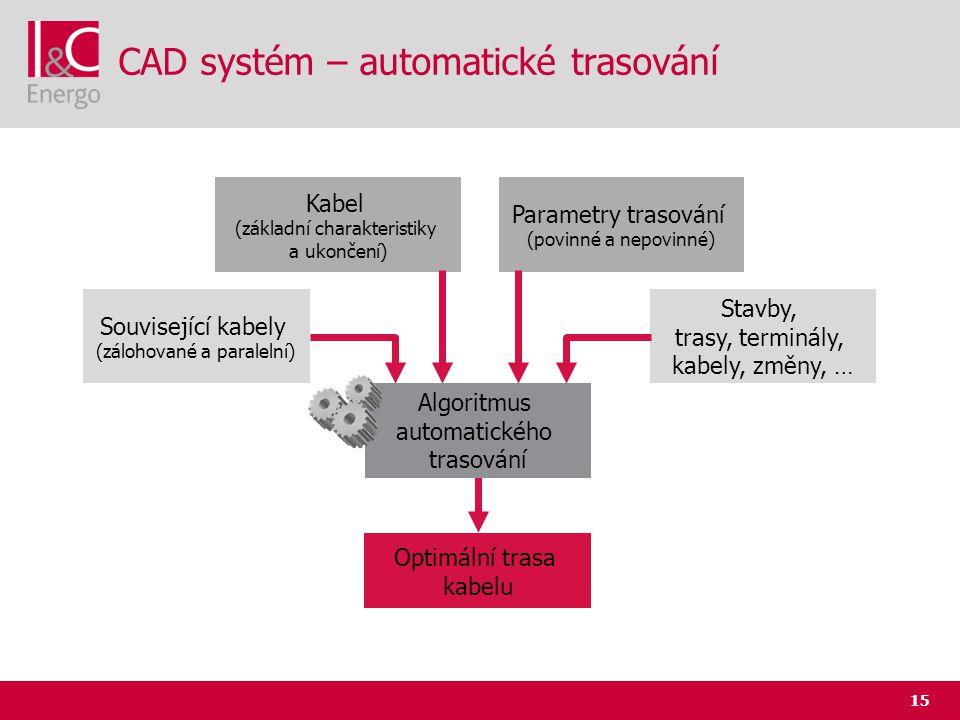 15 CAD systém – automatické trasování Kabel (základní charakteristiky a ukončení) Parametry trasování (povinné a nepovinné) Stavby, trasy, terminály,