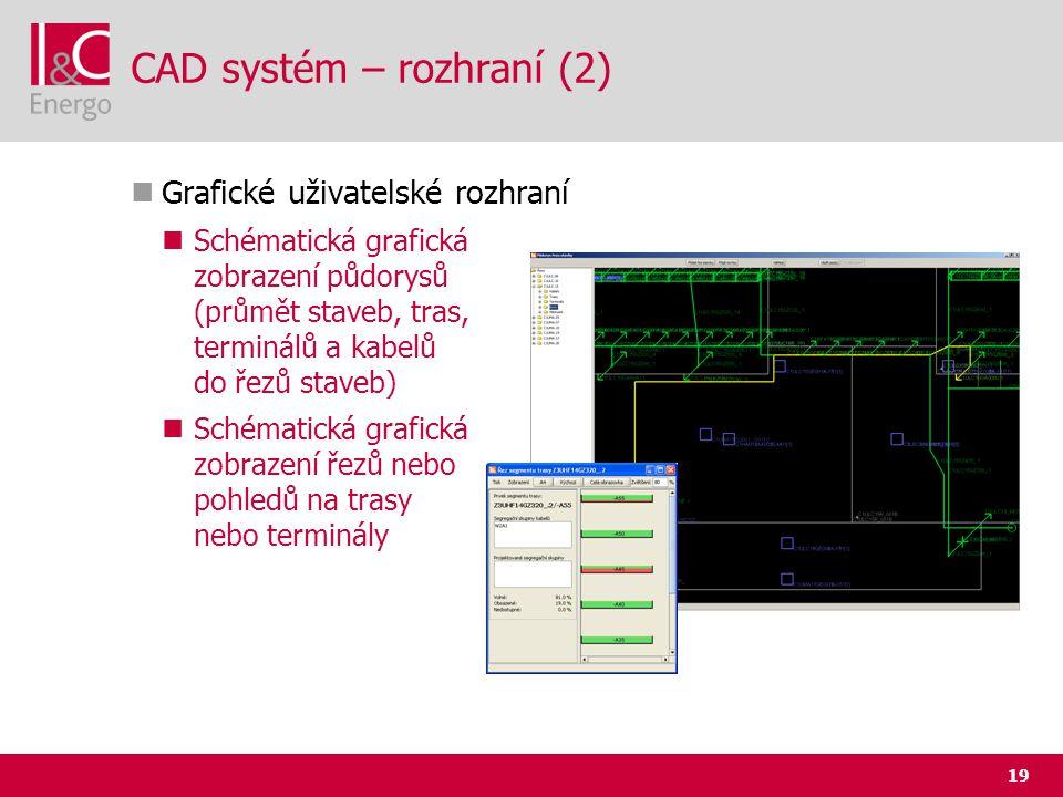 19 CAD systém – rozhraní (2)  Grafické uživatelské rozhraní  Schématická grafická zobrazení půdorysů (průmět staveb, tras, terminálů a kabelů do řez