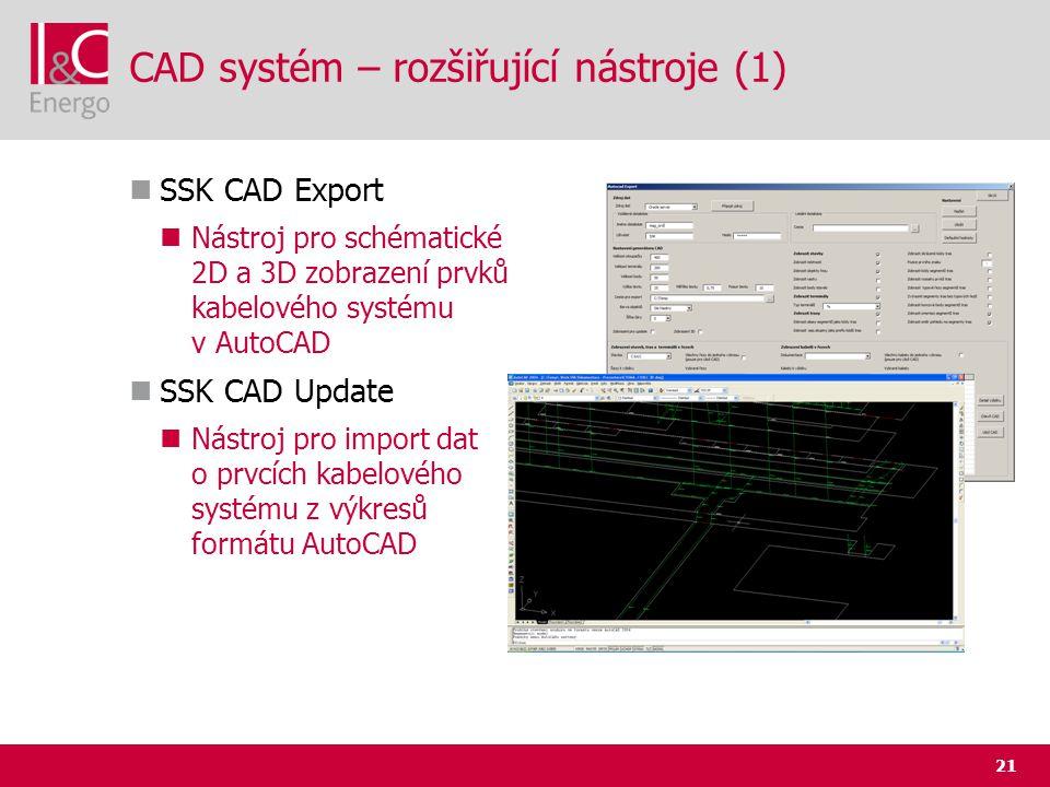 21 CAD systém – rozšiřující nástroje (1)  SSK CAD Export  Nástroj pro schématické 2D a 3D zobrazení prvků kabelového systému v AutoCAD  SSK CAD Upd