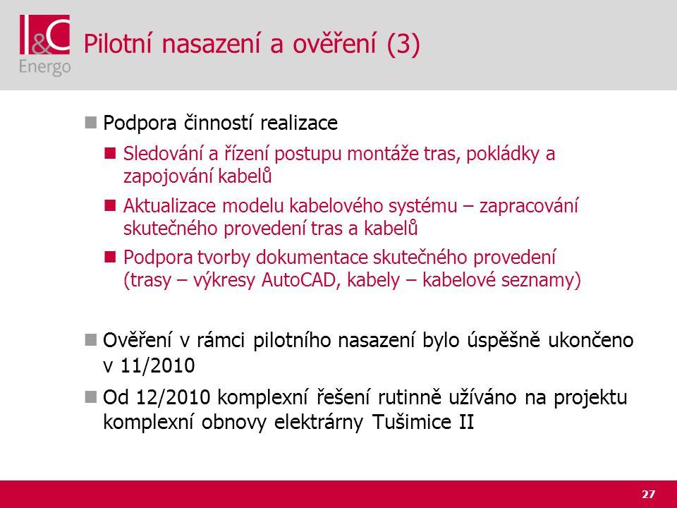 27 Pilotní nasazení a ověření (3)  Podpora činností realizace  Sledování a řízení postupu montáže tras, pokládky a zapojování kabelů  Aktualizace m