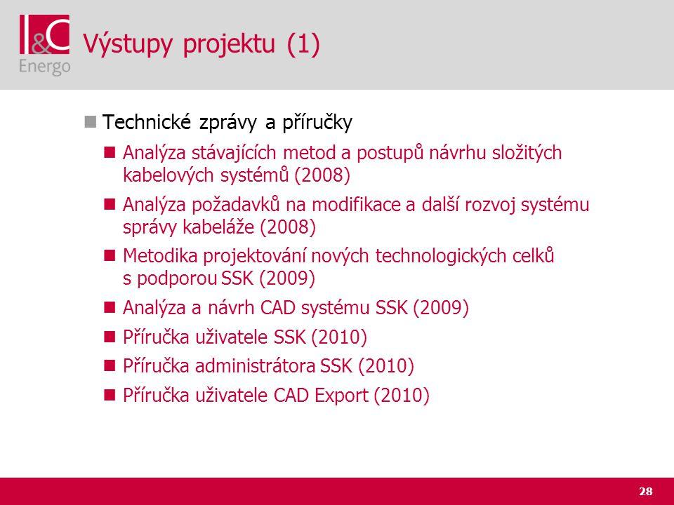 28 Výstupy projektu (1)  Technické zprávy a příručky  Analýza stávajících metod a postupů návrhu složitých kabelových systémů (2008)  Analýza požad