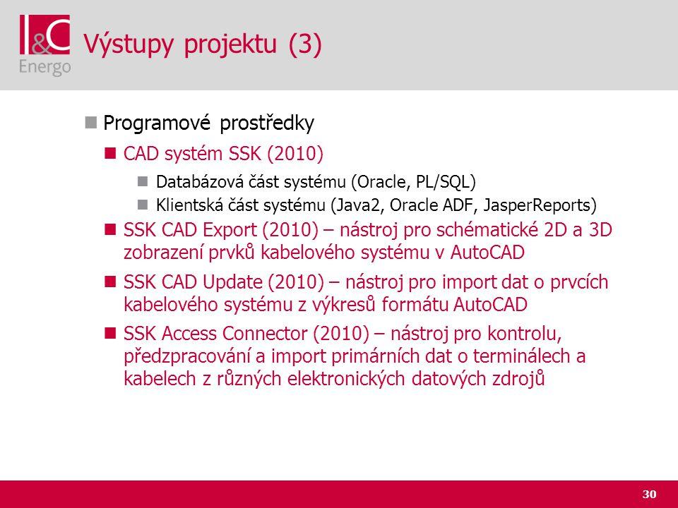 30 Výstupy projektu (3)  Programové prostředky  CAD systém SSK (2010)  Databázová část systému (Oracle, PL/SQL)  Klientská část systému (Java2, Or