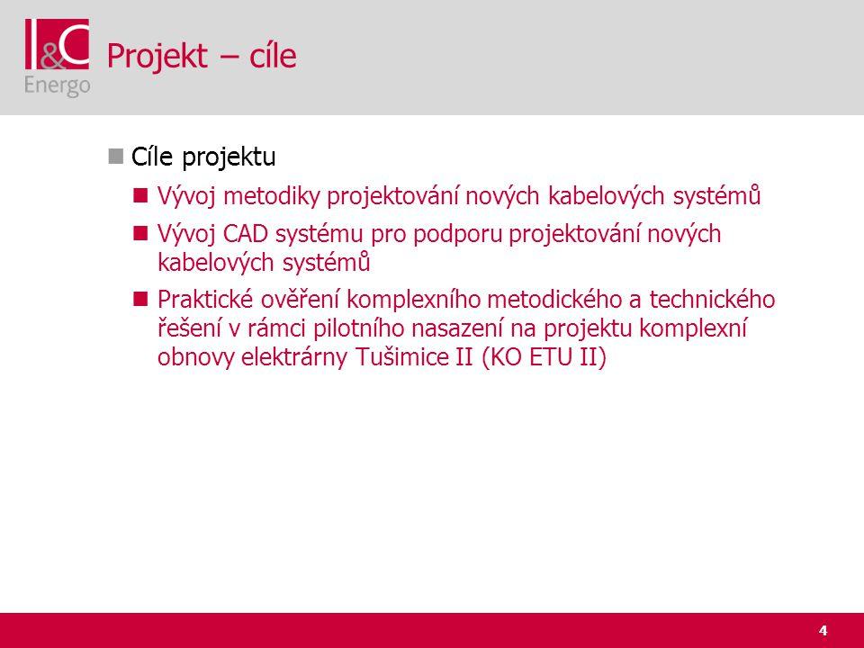 4 Projekt – cíle  Cíle projektu  Vývoj metodiky projektování nových kabelových systémů  Vývoj CAD systému pro podporu projektování nových kabelovýc