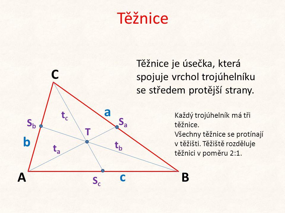 Těžnice b c A C B a Těžnice je úsečka, která spojuje vrchol trojúhelníku se středem protější strany. SaSa SbSb ScSc T Každý trojúhelník má tři těžnice