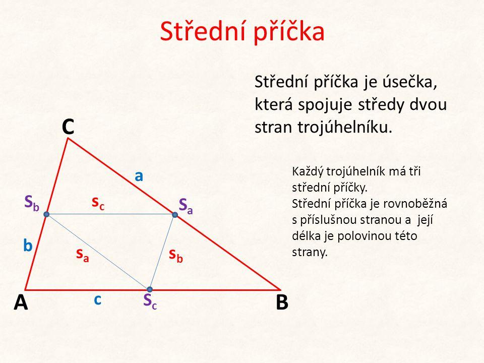 Střední příčka b c A C B a Střední příčka je úsečka, která spojuje středy dvou stran trojúhelníku. SbSb SaSa ScSc Každý trojúhelník má tři střední pří