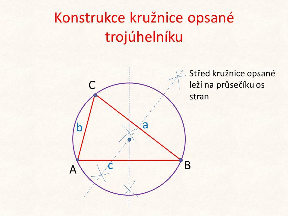 b c A C B a Konstrukce kružnice opsané trojúhelníku Střed kružnice opsané leží na průsečíku os stran
