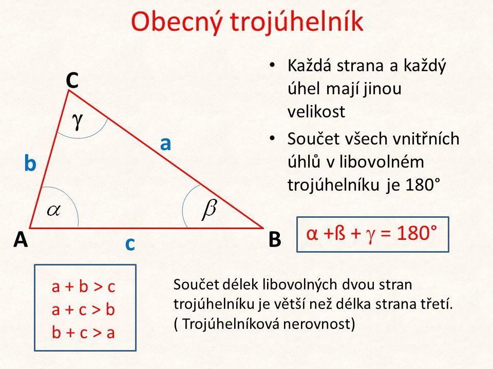 b c A C B a  Obecný trojúhelník • Každá strana a každý úhel mají jinou velikost • Součet všech vnitřních úhlů v libovolném trojúhelníku je 180° α +ß