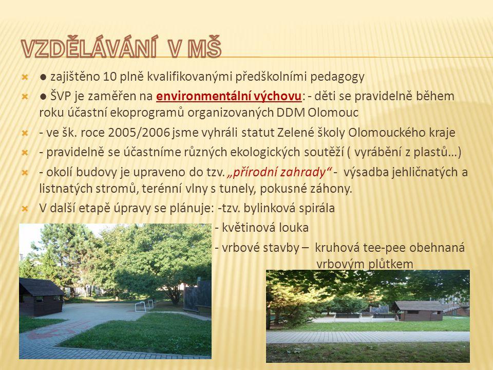  ● zajištěno 10 plně kvalifikovanými předškolními pedagogy  ● ŠVP je zaměřen na environmentální výchovu: - děti se pravidelně během roku účastní ekoprogramů organizovaných DDM Olomouc  - ve šk.