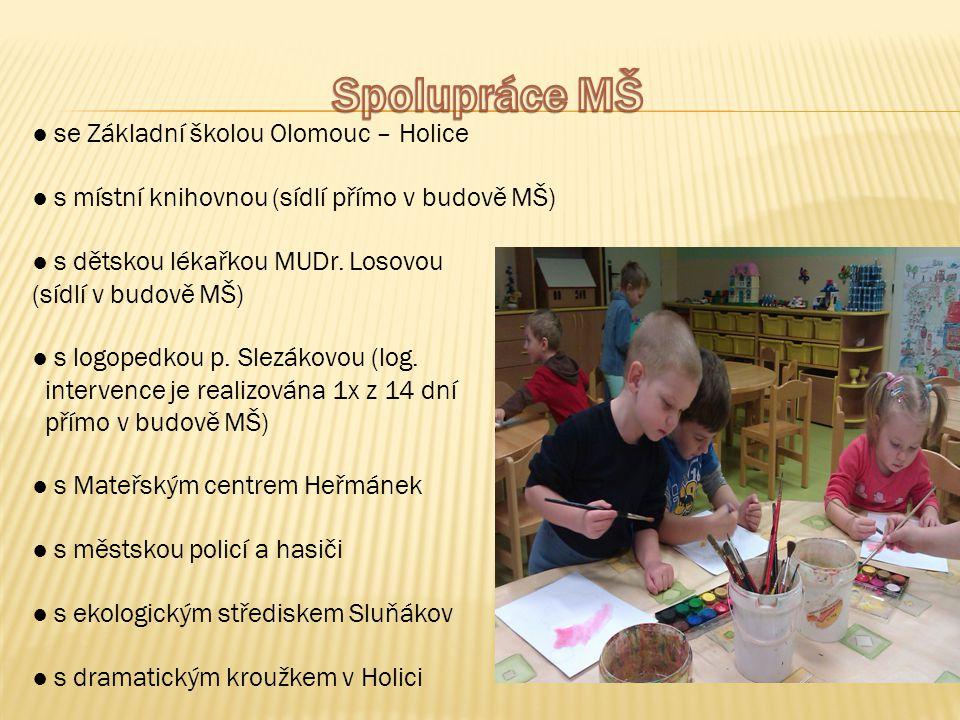 ● se Základní školou Olomouc – Holice ● s místní knihovnou (sídlí přímo v budově MŠ) ● s dětskou lékařkou MUDr. Losovou (sídlí v budově MŠ) ● s logope