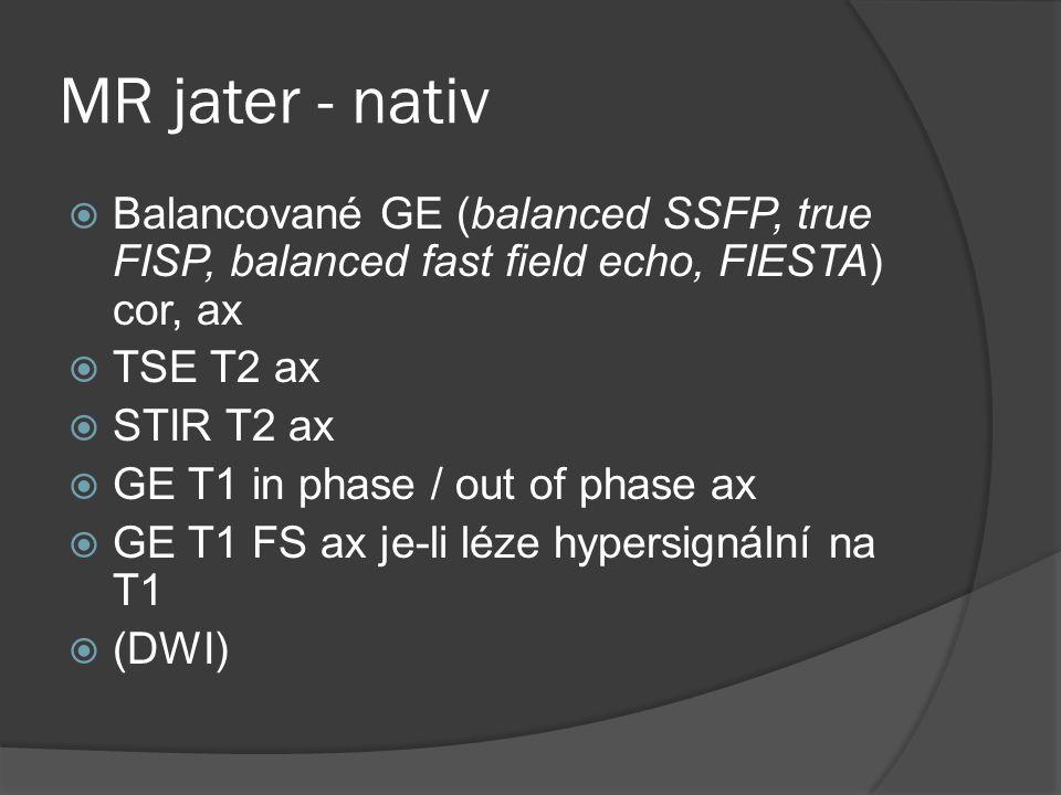 MR jater - nativ  Balancované GE (balanced SSFP, true FISP, balanced fast field echo, FIESTA) cor, ax  TSE T2 ax  STIR T2 ax  GE T1 in phase / out