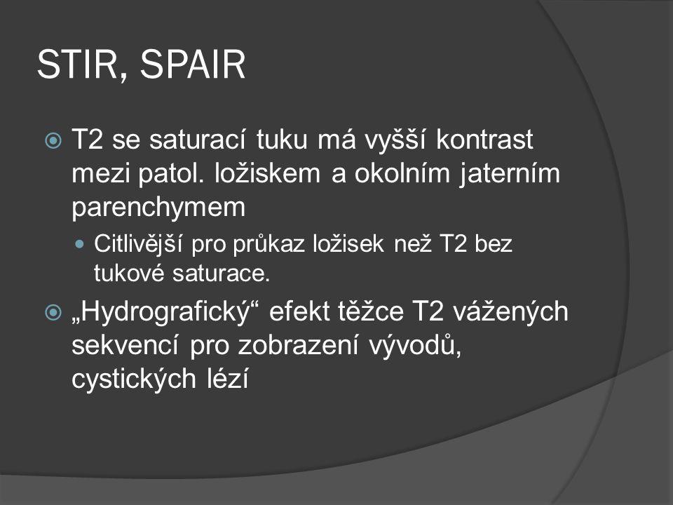 STIR, SPAIR  T2 se saturací tuku má vyšší kontrast mezi patol. ložiskem a okolním jaterním parenchymem  Citlivější pro průkaz ložisek než T2 bez tuk