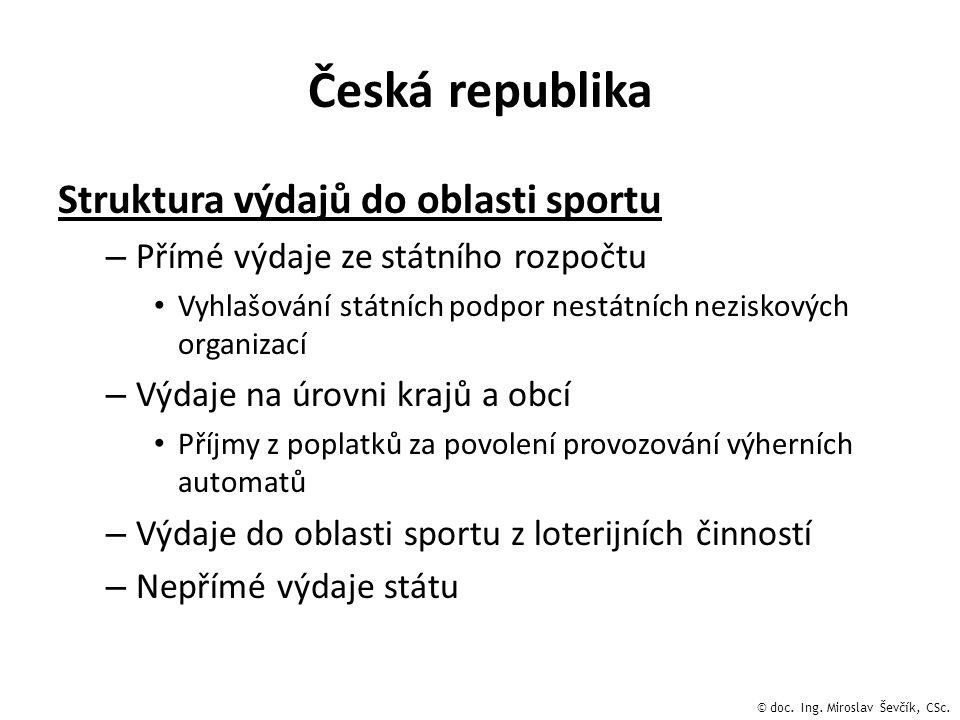 Česká republika Struktura výdajů do oblasti sportu – Přímé výdaje ze státního rozpočtu • Vyhlašování státních podpor nestátních neziskových organizací