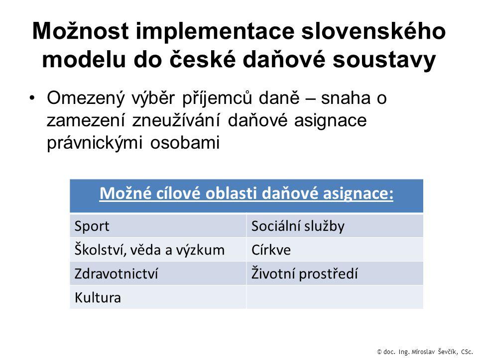 Možnost implementace slovenského modelu do české daňové soustavy •Omezený výběr příjemců daně – snaha o zamezení zneužívání daňové asignace právnickým