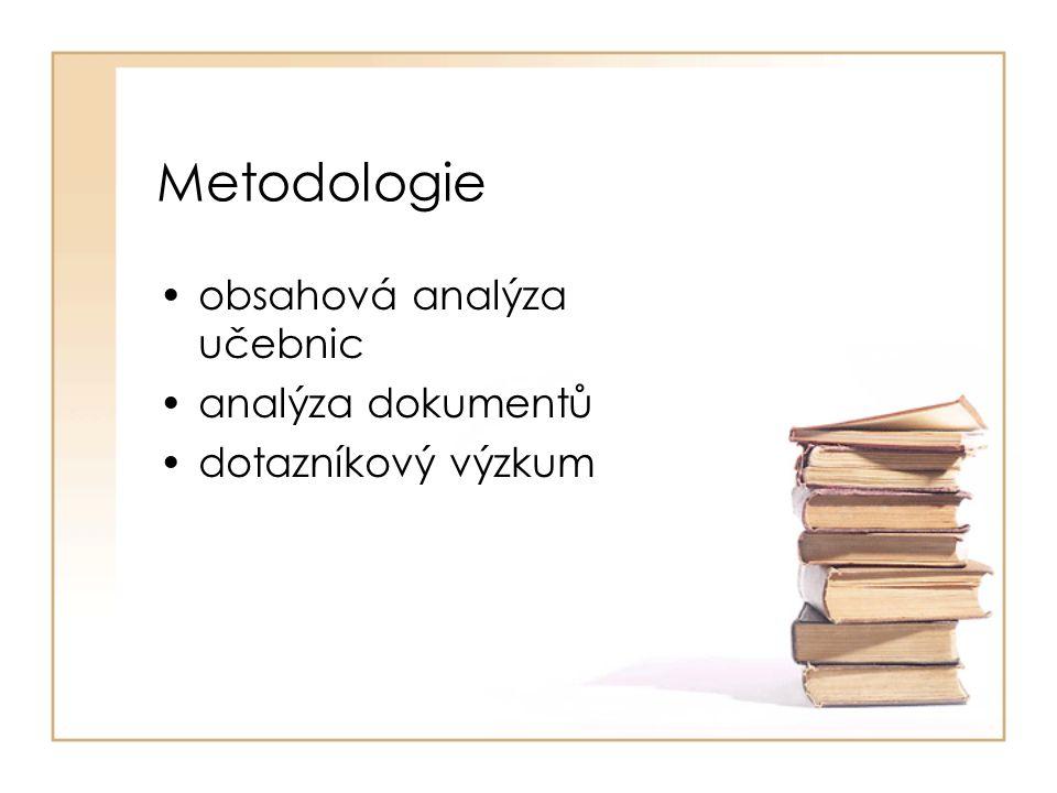 Základní rozvržení práce •Teoretická východiska •Analýza učebnic –Občanská výchova a základy společenských věd –Dějepis –Český jazyk - literatura •Ministerstvo školství, mládeže a tělovýchovy •Případová studie – studenti pedagogiky •Komparace