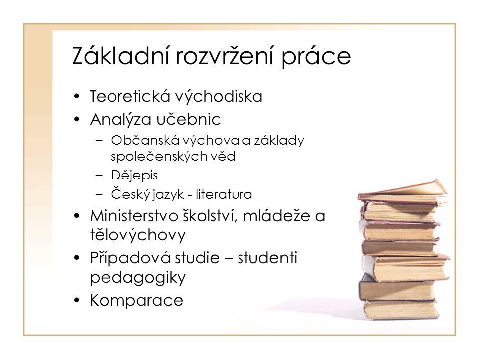 Závěry práce •Český vzdělávací systém je monokulturní •Převažuje úzké pojetí multikulturního vzdělávání •Na multikulturní realitu nejsou dostatečně připravováni budoucí pedagogové •Velké množství školních učebnic reprodukuje kulturní stereotypy
