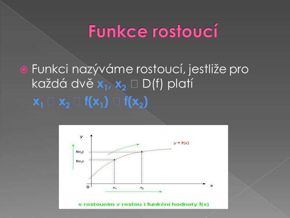  Funkci nazýváme rostoucí, jestliže pro každá dvě x 1, x 2  D(f) platí x 1  x 2  f(x 1 )  f(x 2 )