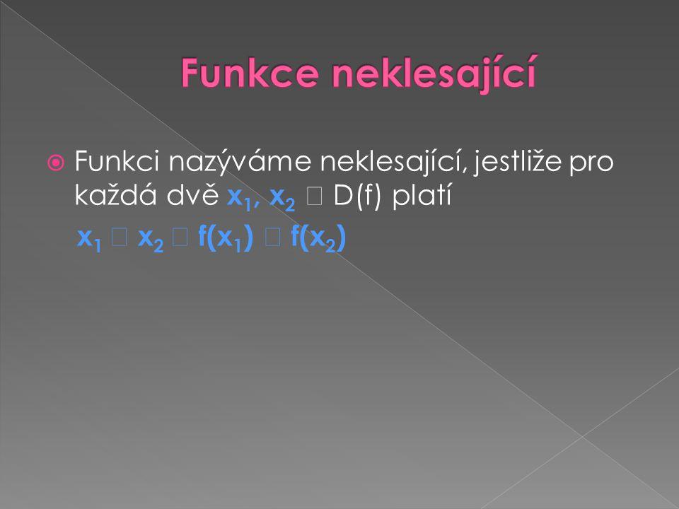  Funkci nazýváme neklesající, jestliže pro každá dvě x 1, x 2  D(f) platí x 1  x 2  f(x 1 )  f(x 2 )