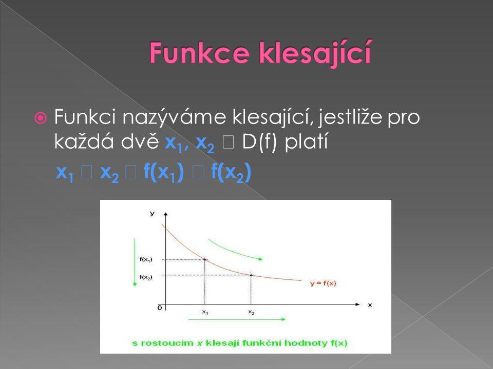 Funkci nazýváme klesající, jestliže pro každá dvě x 1, x 2  D(f) platí x 1  x 2  f(x 1 )  f(x 2 )