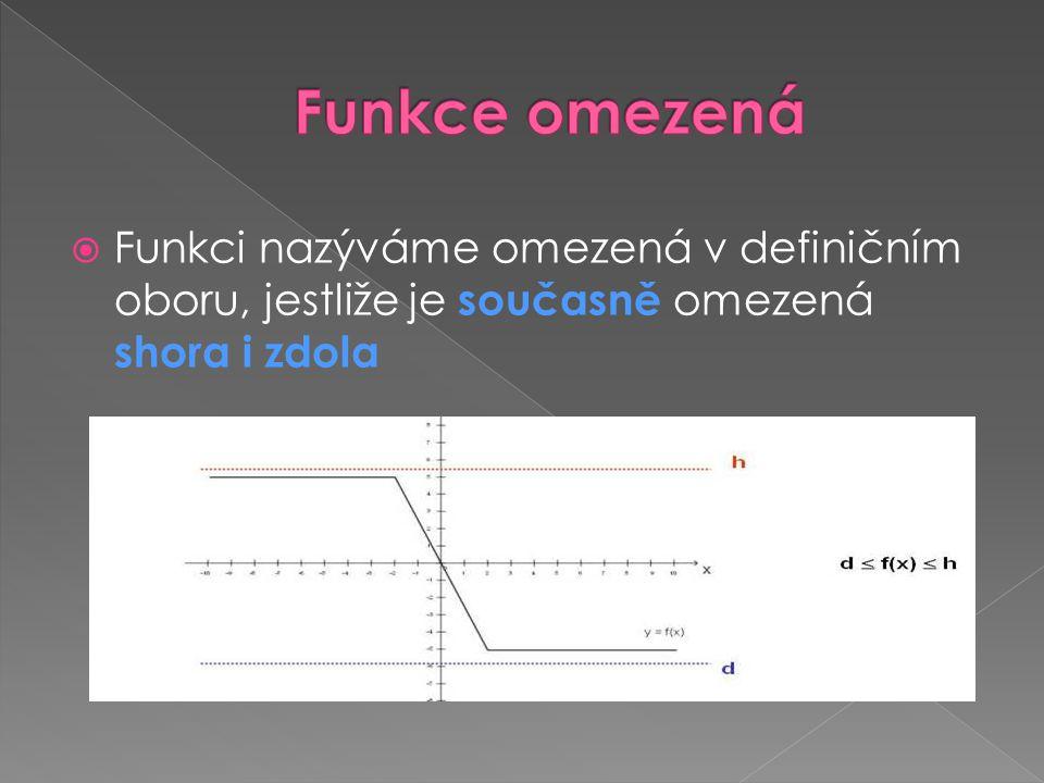  Funkci nazýváme omezená v definičním oboru, jestliže je současně omezená shora i zdola