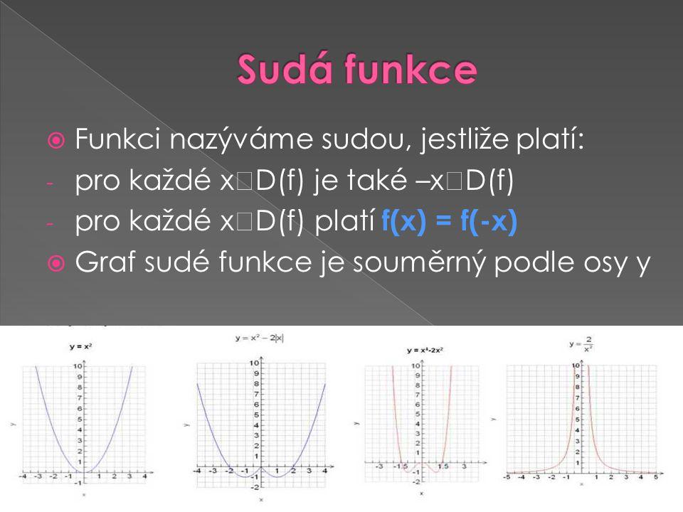  Funkci nazýváme sudou, jestliže platí: - pro každé x  D(f) je také –x  D(f) - pro každé x  D(f) platí f(x) = f(-x)  Graf sudé funkce je souměrný