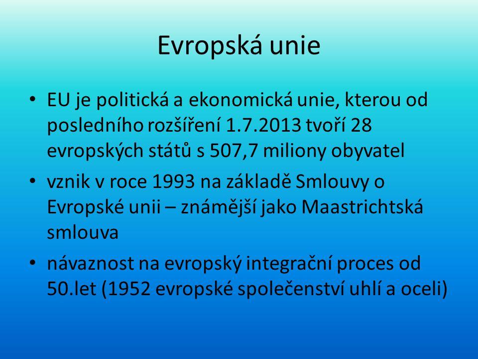 Evropská unie • EU je politická a ekonomická unie, kterou od posledního rozšíření 1.7.2013 tvoří 28 evropských států s 507,7 miliony obyvatel • vznik
