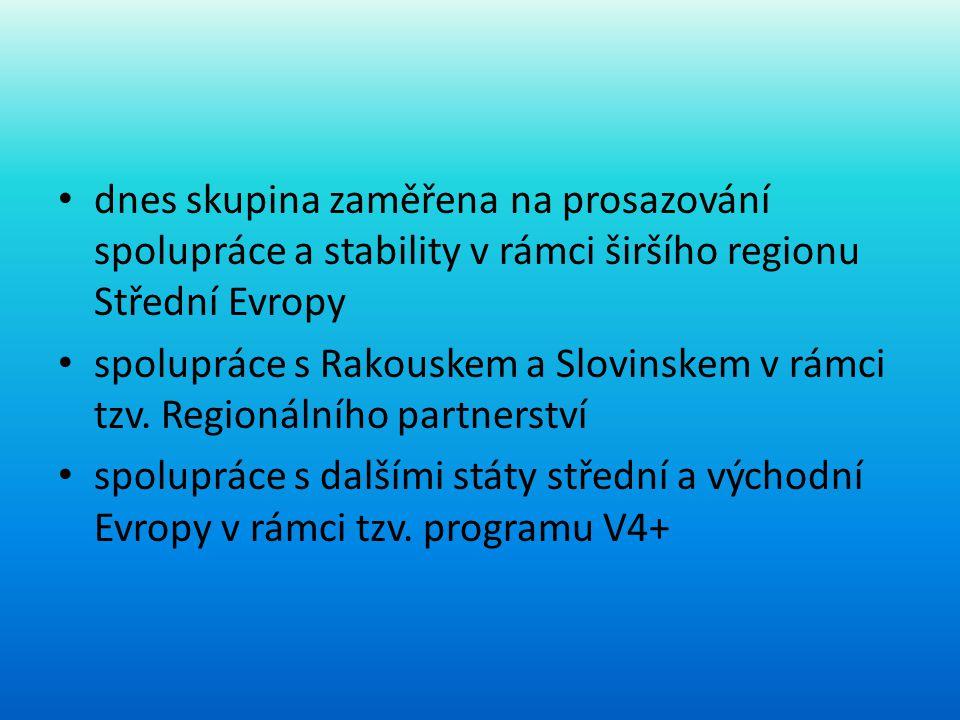 • dnes skupina zaměřena na prosazování spolupráce a stability v rámci širšího regionu Střední Evropy • spolupráce s Rakouskem a Slovinskem v rámci tzv