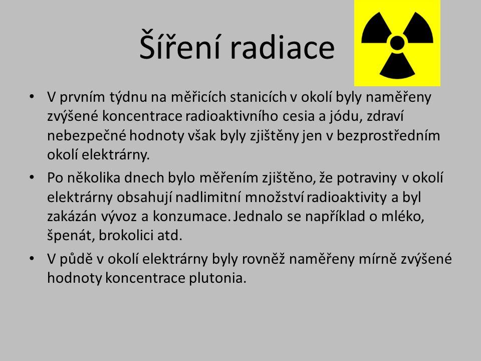 Šíření radiace • V prvním týdnu na měřicích stanicích v okolí byly naměřeny zvýšené koncentrace radioaktivního cesia a jódu, zdraví nebezpečné hodnoty
