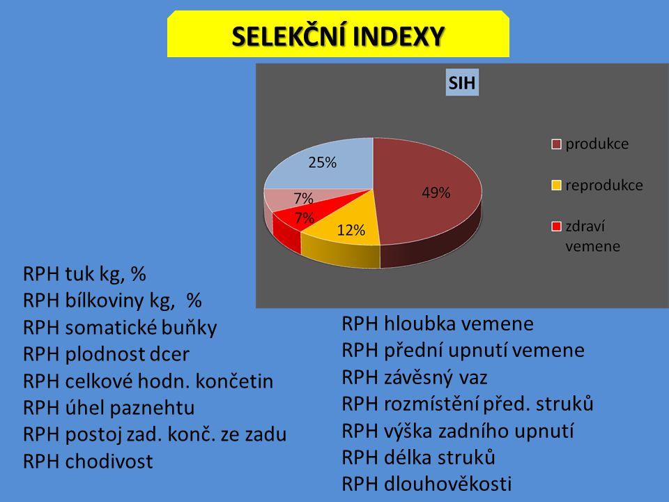 SELEKČNÍ INDEXY RPH tuk kg, % RPH bílkoviny kg, % RPH somatické buňky RPH plodnost dcer RPH celkové hodn. končetin RPH úhel paznehtu RPH postoj zad. k