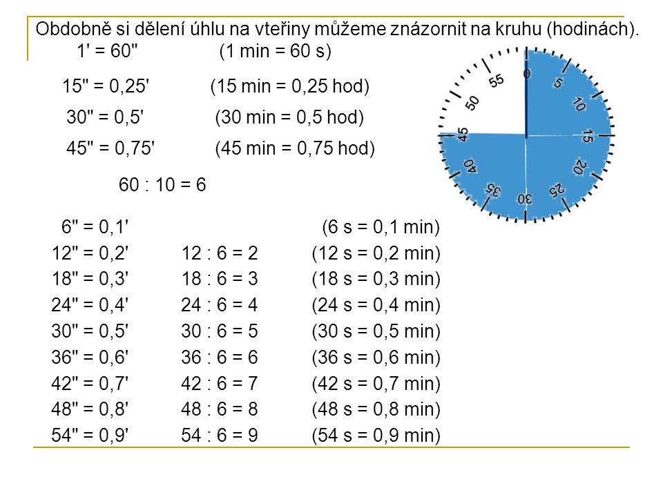 Obdobně si dělení úhlu na vteřiny můžeme znázornit na kruhu (hodinách). 1' = 60