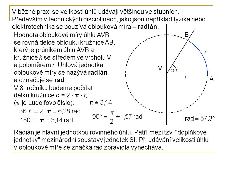 Radián je hlavní jednotkou rovinného úhlu. Patří mezi tzv.