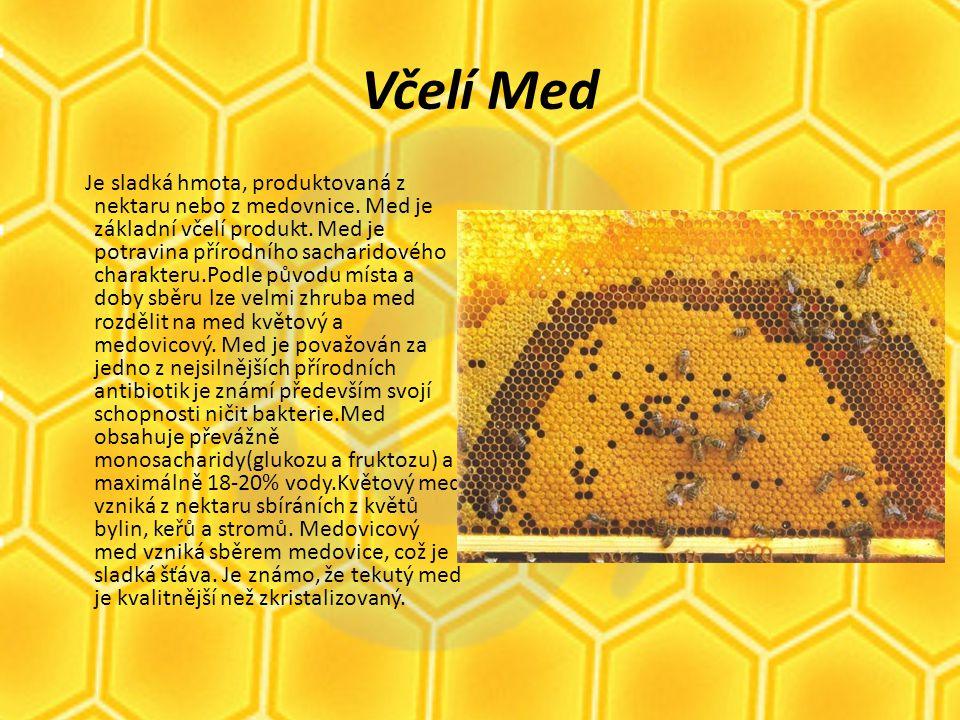 Včelí jed Produkt jedotvorné žlázy dělnic a včely k jeho tvorbě potřebují bílkovinnou stravu.