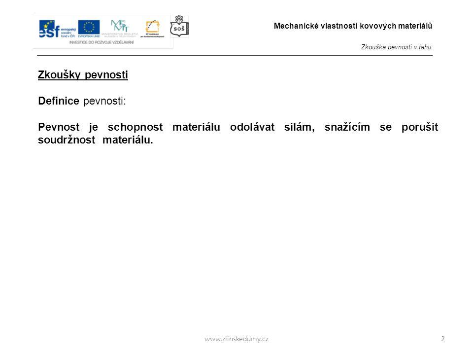 www.zlinskedumy.cz Zkoušky pevnosti Definice pevnosti: Pevnost je schopnost materiálu odolávat silám, snažícím se porušit soudržnost materiálu.