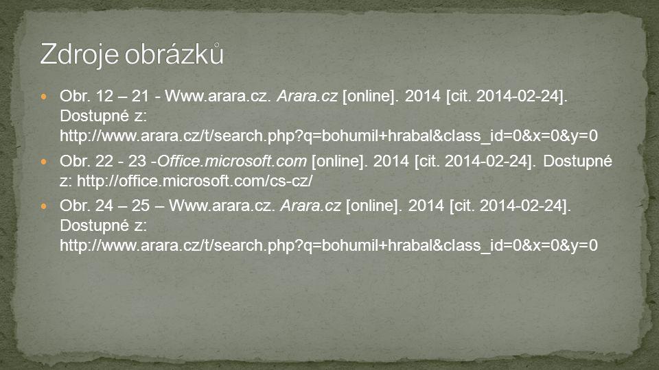  Obr. 12 – 21 - Www.arara.cz. Arara.cz [online]. 2014 [cit. 2014-02-24]. Dostupné z: http://www.arara.cz/t/search.php?q=bohumil+hrabal&class_id=0&x=0