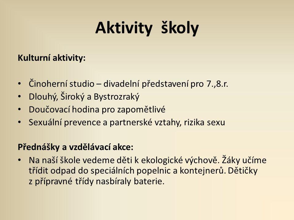 Aktivity školy Kulturní aktivity: • Činoherní studio – divadelní představení pro 7.,8.r. • Dlouhý, Široký a Bystrozraký • Doučovací hodina pro zapomět