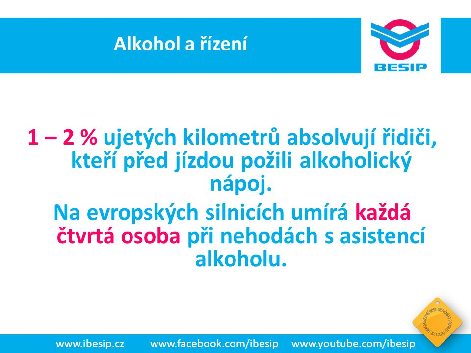 BESIP v ČR - realita www.ibesip.czwww.facebook.com/ibesipwww.youtube.com/ibesip Spotřeba alkoholu a drog v ČR Česká republika je dle WHO se spotřebou 16,45 litru čistého alkoholu ročně na hlavu světovým premiantem.