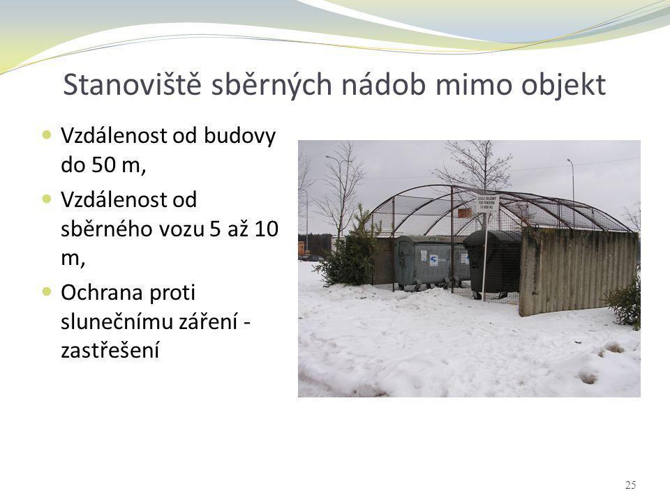 Stanoviště sběrných nádob mimo objekt  Vzdálenost od budovy do 50 m,  Vzdálenost od sběrného vozu 5 až 10 m,  Ochrana proti slunečnímu záření - zas