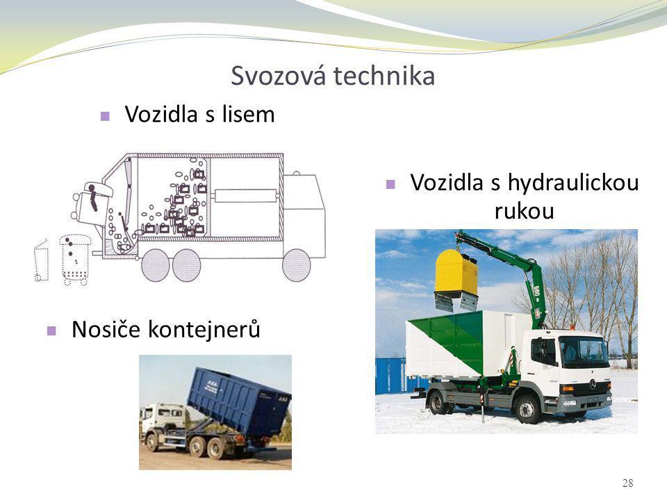 Svozová technika  Vozidla s hydraulickou rukou  Nosiče kontejnerů 28  Vozidla s lisem