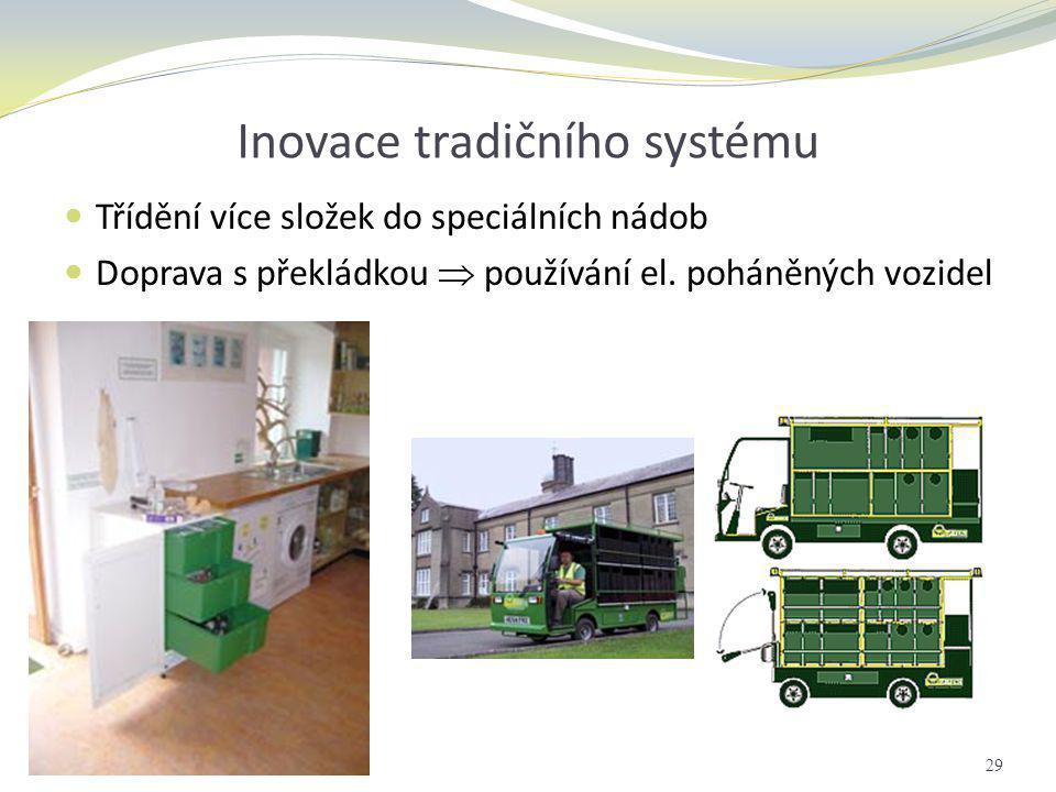 Inovace tradičního systému  Třídění více složek do speciálních nádob  Doprava s překládkou  používání el. poháněných vozidel 29