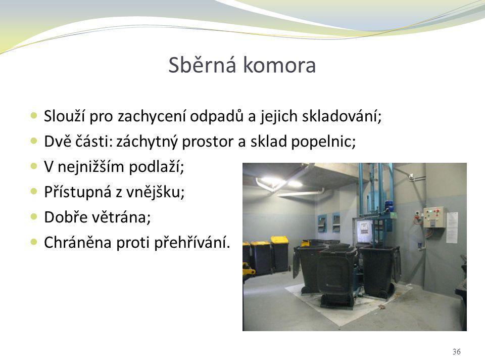 Sběrná komora  Slouží pro zachycení odpadů a jejich skladování;  Dvě části: záchytný prostor a sklad popelnic;  V nejnižším podlaží;  Přístupná z