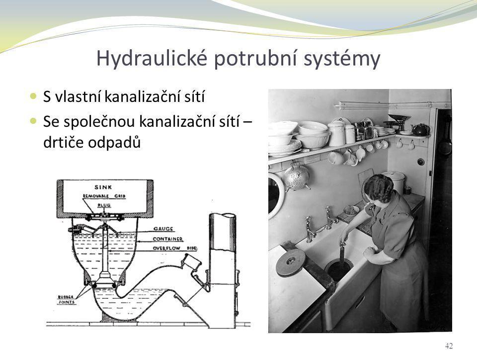 Hydraulické potrubní systémy  S vlastní kanalizační sítí  Se společnou kanalizační sítí – drtiče odpadů 42
