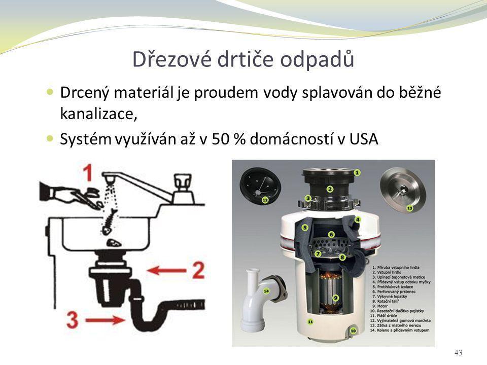 Dřezové drtiče odpadů  Drcený materiál je proudem vody splavován do běžné kanalizace,  Systém využíván až v 50 % domácností v USA 43