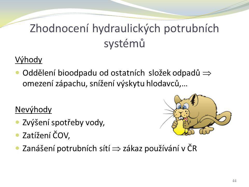 Zhodnocení hydraulických potrubních systémů Výhody  Oddělení bioodpadu od ostatních složek odpadů  omezení zápachu, snížení výskytu hlodavců,… Nevýh